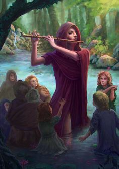 The Pied Piper by XeNzO witch sorceress children magic flute snake charm lake river woods rogue cloak armor clothes clothing fashion player character npc | Create your own roleplaying game material w/ RPG Bard: www.rpgbard.com | Writing inspiration for Dungeons and Dragons DND D&D Pathfinder PFRPG Warhammer 40k Star Wars Shadowrun Call of Cthulhu Lord of the Rings LoTR + d20 fantasy science fiction scifi horror design | Not Trusty Sword art: click artwork for source