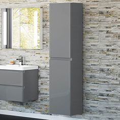1700mm Tall Gloss Grey Wall Hung Bathroom Furniture Soft Close Cabinet Storage Unit