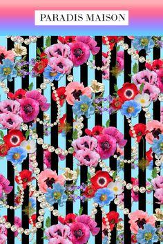 Poppy Flower Fabric from Paradis Maison Poppy Flower Decor & Pillows