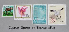 Reserved Custom Order for katiepinerola .. Unused Vintage US Postage Stamps by TreasureFox on Etsy