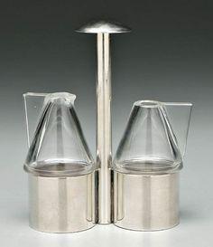 Josef Hoffmann, silver/glass cruet, Joseph Hoffman, Koloman Moser, Art Eras, Vienna Secession, Ceramics Projects, Tea Service, Art Deco Design, Antique Items, Art Deco Fashion