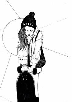 #illustration #girl #longboard #sketch #drawmoi Illustration Girl, Darth Vader, Sketches, Fictional Characters, Drawings, Sketch, Sketching, Fantasy Characters