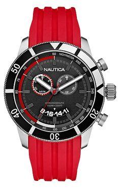 Mens's NSR-08 Red Sport Watch - Nautica.com