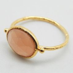 Moonstone Ring, Peach Moonstone Ring, Peach Gemstone Stacking Ring, 22K Yellow Gold Plated Moonstone Silver Ring, June Birthstone Oval Ring _________________________________________________________________  Product type :- Ring Metal Type :- Silver Metal color :- 22k Yellow Gold Plated Gross WT. :- 1.80 Metal Wt. :- 1.00 Stone Wt. :- 0.80 Stone Name :- Peach Moon Stone Shape :- Oval Cut :- Faceted Ring Size :- 6.5 (in stock) 6, 7, 9, 10 (Made to Order)…