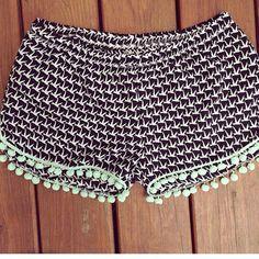 Pom Pom Shorts boho chic beach shorts womens by melmaxdesigns