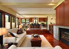 Sunken living room helps demarcate spaces in an open floor plan