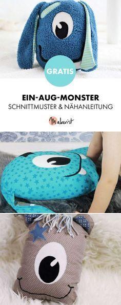 Gratis Anleitung: Kuscheltier oder Kissen Ein-Aug-Monster - Schnittmuster und Nähanleitung via Makerist.de