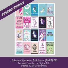Free Printable Unicorn Planner Stickers from My Life Planners