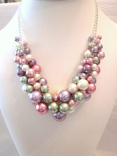 """The """"Shades of Spring"""" Pearl Cluster Necklace - Chunky, Choker, Bib, Necklace, Wedding, Bridal, Bridesmaid, Prom, Formal."""