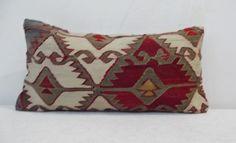Rustic Home Decor Lumbar Pillow Turkish Kilim Lumbar by Sheepsroad, $65.00