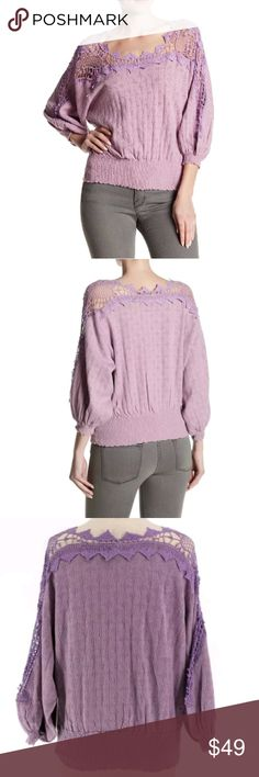 1d4e4b9766506a NWT Free People Love Lace Sweater Purple Brand new with tags Free People  Love Lace Boatneck