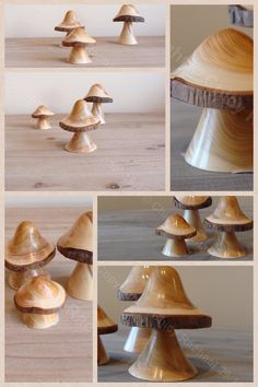 Selection of hand turned wooden mushrooms. From £6.50-£8.50 www.chicyrachael.com