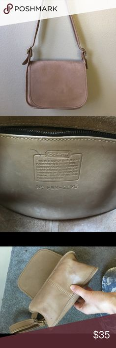 """Vintage Coach Saddle flap shoulder purse Great Coach shoulder bag. Base measures 4"""" by 9"""". Strap measures about 34.5"""". Bag is about 8"""" y'all. Some pen marks as pictured. Overall, great vintage condition. Bags Shoulder Bags"""