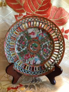 Chinese reticulated Famille Rose plate 18.5 cm diameter by Ritzco, $200.00