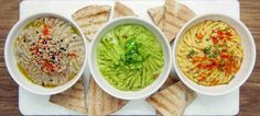 hummus, guacamole, baba ganoush Guacamole, Hummus, Tapas, Baba Ganoush, Palak Paneer, New Kitchen, Coffee Shop, Catering, Brunch