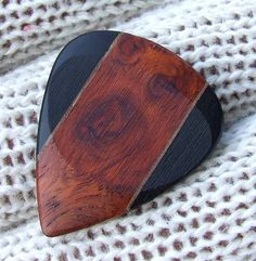Custom Handmade Wood Guitar Pick - Amboyna Burl Walnut