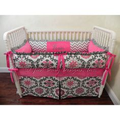 Custom Crib Bedding Rosa Girl Baby Bedding Hot Pink and Gray Crib... ($264) ❤ liked on Polyvore featuring home, children's room, children's furniture, nursery furniture, bedding, grey and home & living