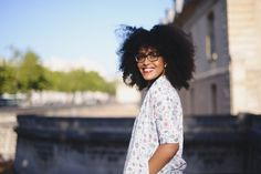 """Herlucidsky wrote: """"@museuniform. One of my favorite bloggers. Isn't she a beauty?"""" Afro hair. natural hair. kinky curly huair. afro curls. curly afro. curly fro. big hair. beautiful hair. healthy hair. natural hair and fashion. fashion bloggers with natural hair."""