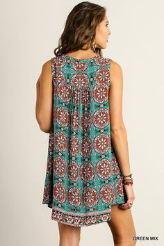 @knittedbelle #knittedbelle Printed Sleeveless Dress with Front Tie