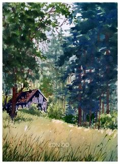 Watercolor landscape forest barn