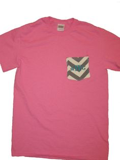 NEW ITEM Monogrammed Pocket Tees Sorority by JessicaPEmbroidery, $15.00