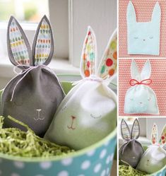 Felt Bunny Bags - so easy to make! Such a sweet alternative to commercial Easter baskets. Hoppy Easter, Easter Bunny, Easter Gift, Easter Eggs, Easter Party, Bunny Party, Spring Crafts, Holiday Crafts, Bunny Bags