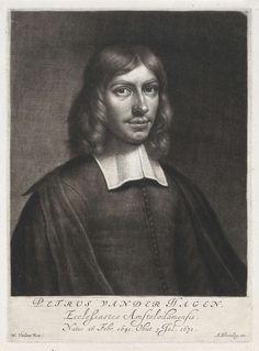 Portret van de predikant Petrus van der Hagen, Wallerant Vaillant, Abraham Bloteling, 1671 - 1690