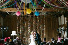 Origami crane wedding ceremony backdrop