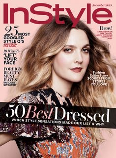 Drew Barrymore stars on InStyle's November 2015 cover.