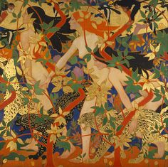 Diana and Her Nymphs, 1926, by Robert Burns (Scottish painter and designer, 1869–1941). Oil or tempera on canvas. Mural painting done for Crawford's Tearoom, Edinburgh