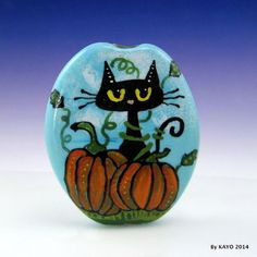 """MR. PUMPKIN PAWS"" byKAYO a Handmade BLACK CAT Lampwork Art Glass Focal Bead SRA #Lampwork"