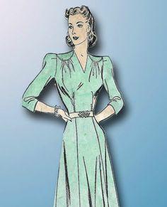 1940s WWII Saddle Shoulder Dress Pattern 1941 Advance Sewing Pattern 34 B | eBay
