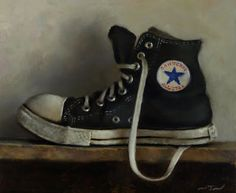 Black All Star - oil on panel - Neil Nelson Converse Tennis Shoes, Converse All Star, Still Life Artists, Still Life Photos, Purple Shoes, Painting Still Life, Shoe Art, Painted Shoes, Watercolor Art