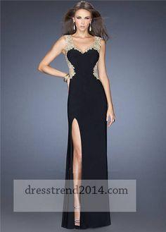 Black Gold Mesh Slit Lace Long Prom Dress