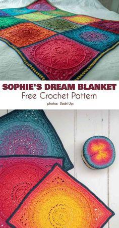 "Crochet afghans 392446555027324950 - ""Sophie's Dream Blanket"". Amazing crochet squares with detailed, dense pattern in vibrant, slow-color-changing yarn. Crochet Afghans, Motifs Afghans, Crochet Squares Afghan, Crochet Square Patterns, Crochet Blanket Patterns, Baby Blanket Crochet, Knitting Patterns, Crochet Baby, Afghan Blanket"