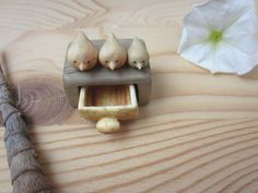 Miniature drawer with little birds  wood carving Wood by plad