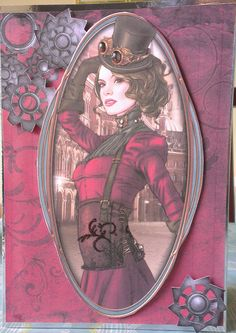 Featuring topper from Debbi Moore Designs Steampunk CD Debbie Moore, Steampunk Cards, Art Deco Cards, Sci Fi Fantasy, Card Designs, Steam Punk, Homemade Cards, Cardmaking, Shabby Chic
