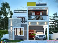 2100 square feet 4 bedroom decorative modern house rendering by Dream Form from Kerala. Modern Exterior House Designs, Best Modern House Design, Design Your Dream House, House Front Design, Bungalow Exterior, House Elevation, Building Elevation, Front Elevation, 30x40 House Plans
