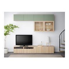 BESTÅ TV storage combination/glass doors, Lappviken green, Sindvik white stained oak eff clear glass - 240x40x230 cm - IKEA