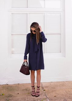 tie-neck silk shift dress