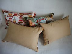 Old publicity pillows green, red, cream, Portugal