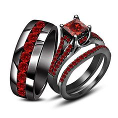 9kt Black Gold 925 Silver Princess & Rd Cut Garnet His Her Trio Wedding Ring Set