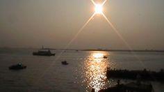 sunset over New York bay
