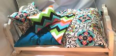 """American Girl 18"""" Doll Bedding Set 4 pc teal, black, pink teal mattress with chevron  