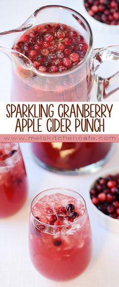 Sparkling Cranberry Apple Cider Punch (I would use some coconut sugar and skip the white stuff)