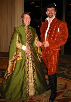 """The gown is in a Spanish style. We have a fitted gown based on the picture of the pattern of a woman's fitted gown taken from Geometria, y traça, by Burguen (as discussed in Janet Arnold's Patterns of Fashion). The sleeve style is also Spanish and is called a Spanish great sleeve."" Guy's Costumes (http://www.wyrdrune.com/Costume/)"