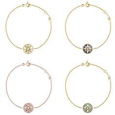 (左上から時計回り) ローズ デ ヴァン ブレスレット (YG、マザー オブ パール、ダイヤモンド) ¥185,000、(YG、ラピスラズリ、ダイヤモンド) ¥230,000、(YG、ターコイズ、ダイヤモンド) ¥195,000、(PG 、ピンクオパール、ダイヤモンド) ¥220,000   © Dior