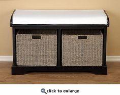 Wood Bench W Cushion And 2 Hamper Baskets  (MASTER BATH)