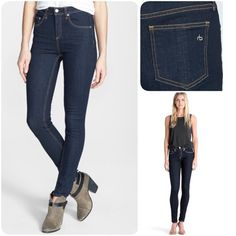 """Rag & Bone Highway Rise Skinny - Heritage Slim from the waist to the ankle, these dark-wash skinny jeans feature a vintage-inspired high rise for a lean, leg-lengthening silhouette. 31"""" inseam; 11"""" leg opening; 10"""" front rise. Zip fly with button closure. Five-pocket style. Fabric: 98% cotton, 2% polyurethane. American made! rag & bone Jeans Skinny"""