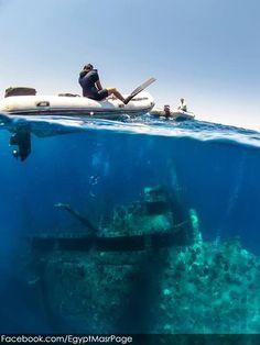 Swimming over sunken ships